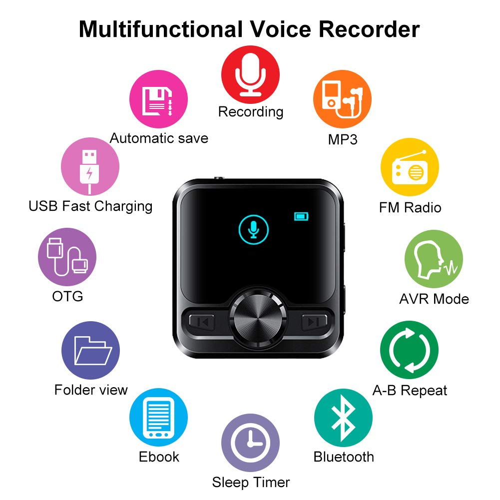 572 Hours Recordings Capacity Password Protection More Than 38 Hours Battery Life Mini Voice Activated Recorder Listening Device for Spying Up to 1536 Kbps Voice Recording