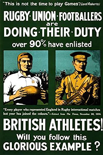 A World War one recruitment poster in Britain calling on rugby footballers nd othe athletes to join in the fight for their nation Poster Print by Riddle & Co Johnson (18 x 24)