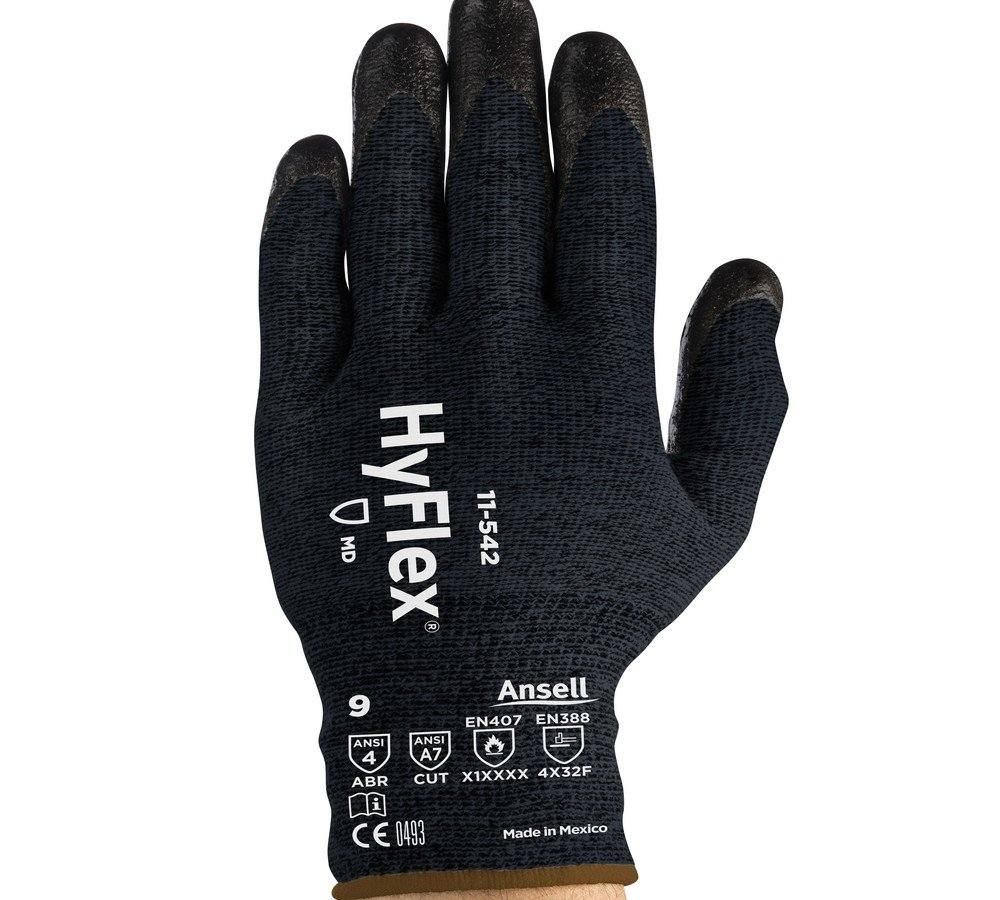 Ansell 11-542-10 Cut Resistant Gloves (826637) - Size 10, Black (1 Pair)