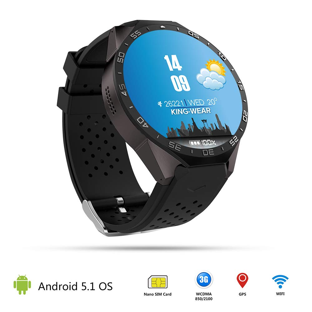 Amazon.com : KW88 3G WiFi Android 5.1 Smartwatch - KingWare ...