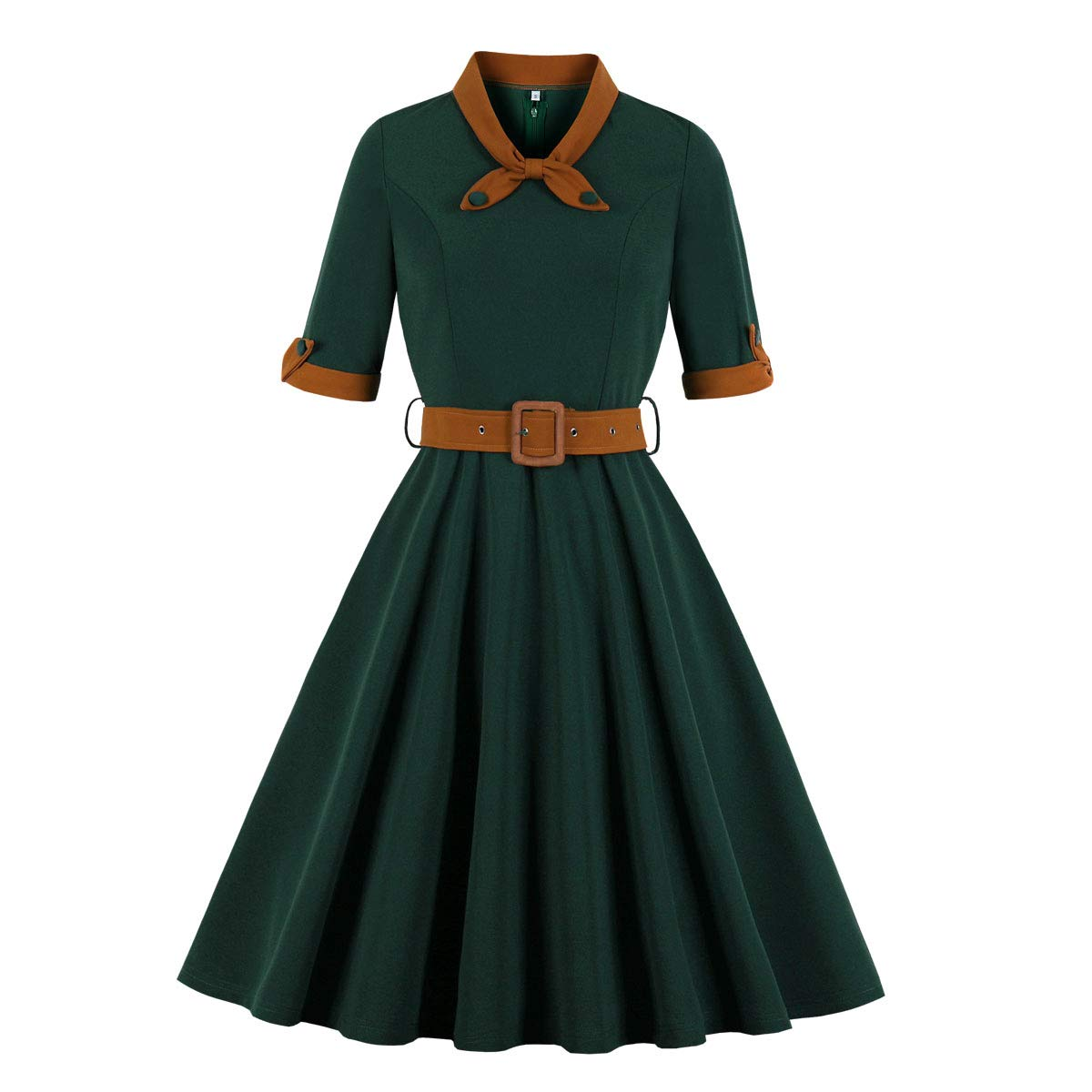 1940s Fashion Advice for Short Women Wellwits Womens 1/2 Half Sleeves Sailor Tie Neck 1940s Retro Vintage Dress $24.98 AT vintagedancer.com