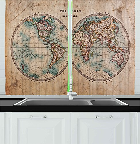 Ambesonne Kitchen Decor Collection, Map the World Atlas Antique Style Home Design History Cafe Kitchenware Education, Window Treatments for Kitchen Curtains 2 Panels, 55X39 Inches, Brown Cream Blue