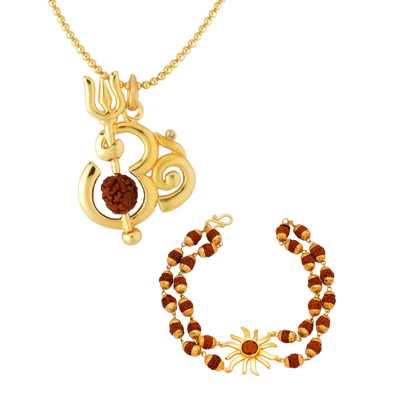4a9e0b988f3f77 Dare by Voylla Gold Plated  OM  Pendant Chain and  Sun  Rudraksha Bracelet  Combo for Men  Amazon.in  Jewellery