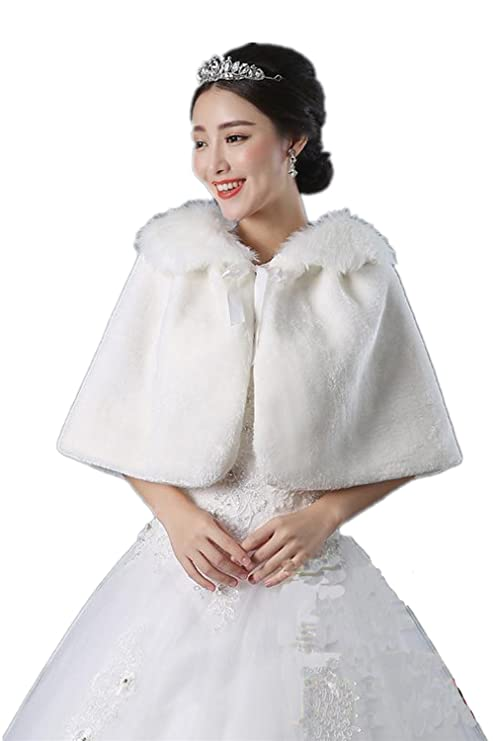 40760d50a1f87 Amazon.com: Women's Faux Fur Wrap Cape Stole Shawl Girl's Bolero Jacket  Coat Shrug For Wedding Dress,White: Sports & Outdoors