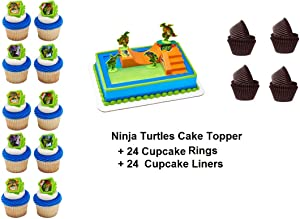 Ninja Turtles Cake Topper Set Cupcake 24 Pieces plus 24 Baking Cup Liners GREAT SELLER