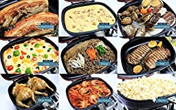 Happycall Nonstick Double Pan, IH Standard, Induction Capable, Double Sided Pan, Square, Dishwasher Safe, Omelette, Frittata Pan, Red
