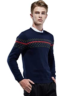 MT-Pste Mens Cotton Floral Embroidered Pullover Sweater Knit Jumper