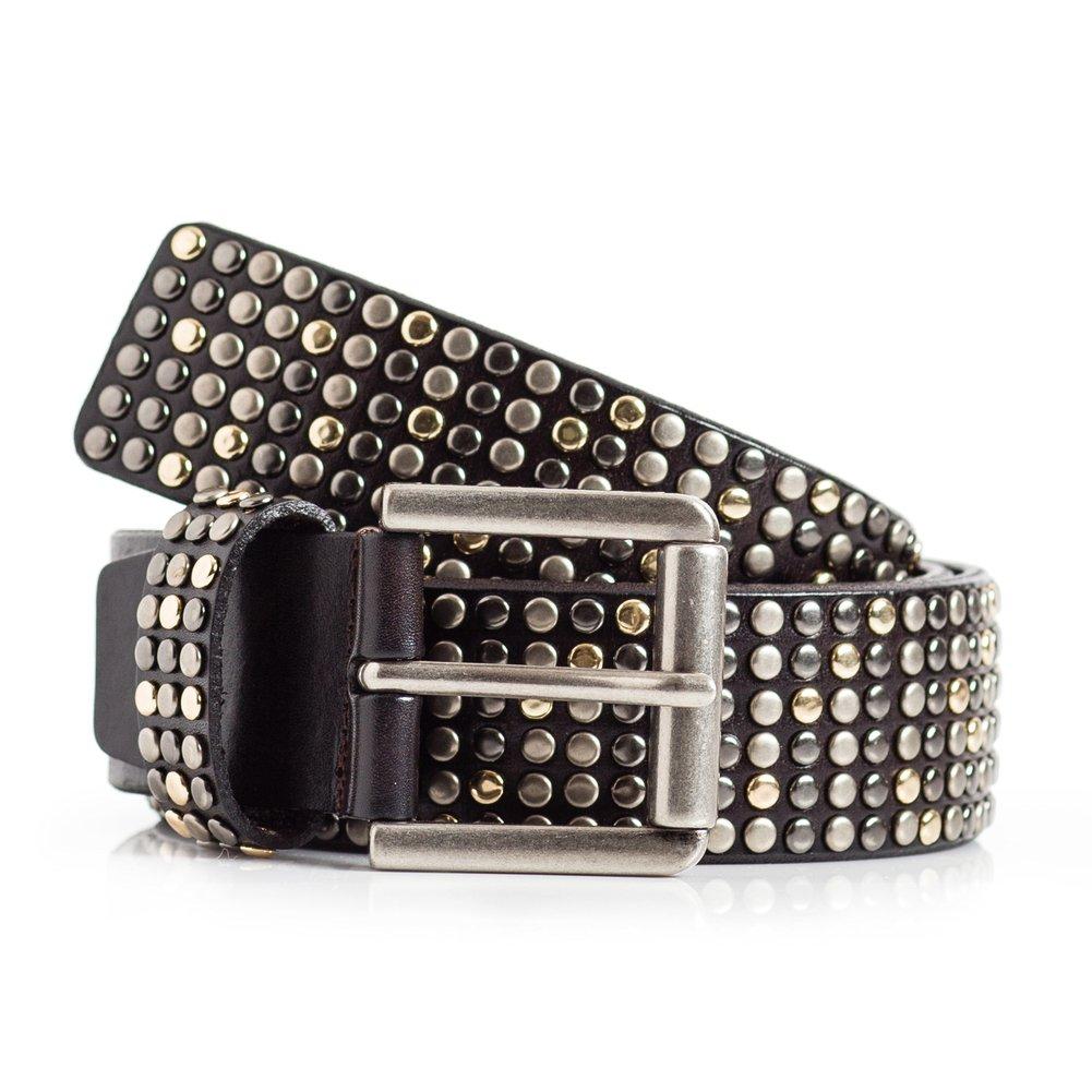 Womens Black Studded Leather Belt (36)