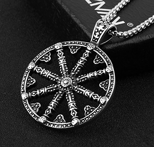 Hzman mens stainless steel dharma chakra pendant dharma wheel of law save aloadofball Gallery