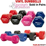 MaxStrength Vinyl Dumbbells Aerobic Weight Fitness Arm Exercise Training Pair Home Gym 0.5KG, 1kg, 2kg, PAIR
