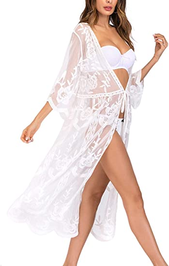 Hand embellished Lace up beach cover up silk kimono Designer camouflage print Long belted cover up shrug