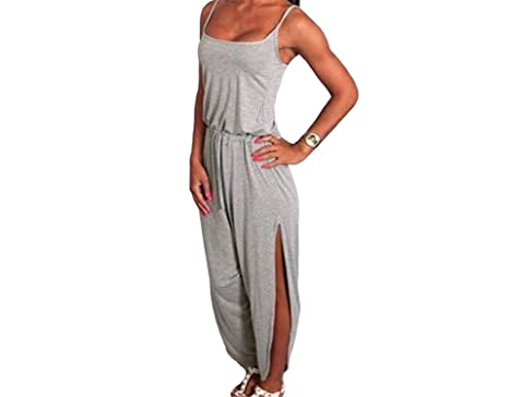 08fd63c141f Amazon.com  Rankei Women Strappy Jumpsuit Drawstring Waist Split Cuff Solid  Romper Wide Leg Long Pants Grey Dark Grey Jumpsuits  Clothing