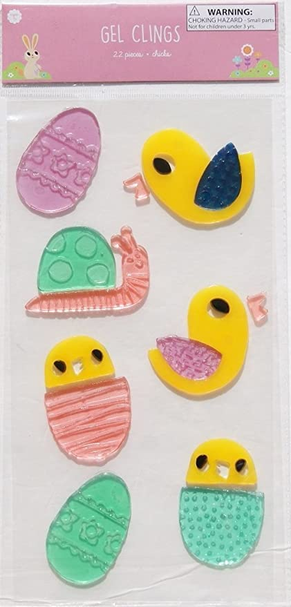 Easter Themed Easter Chicks and Eggs Gel Window Clings - 22 Piece