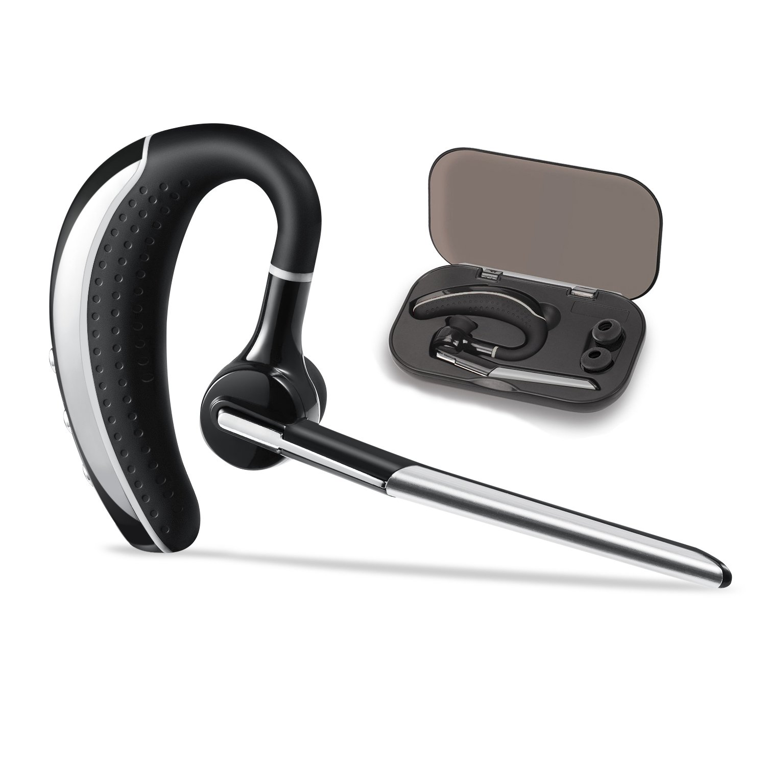 Bluetooth headset, Hands free Wireless Bluetooth Earpiece V4.1 with 6.5-Hr Talktime and Noise Cancellation Mic for iPhone and Android cell phones for Driving/Business/Office/Workout