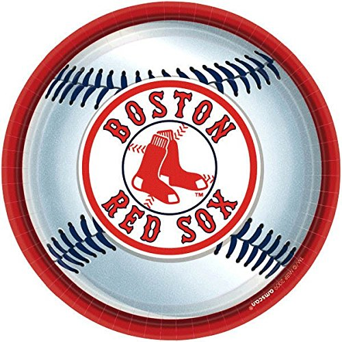 Amscan Boston Red Sox Round Dinner Plates, (Red Sox Costume)