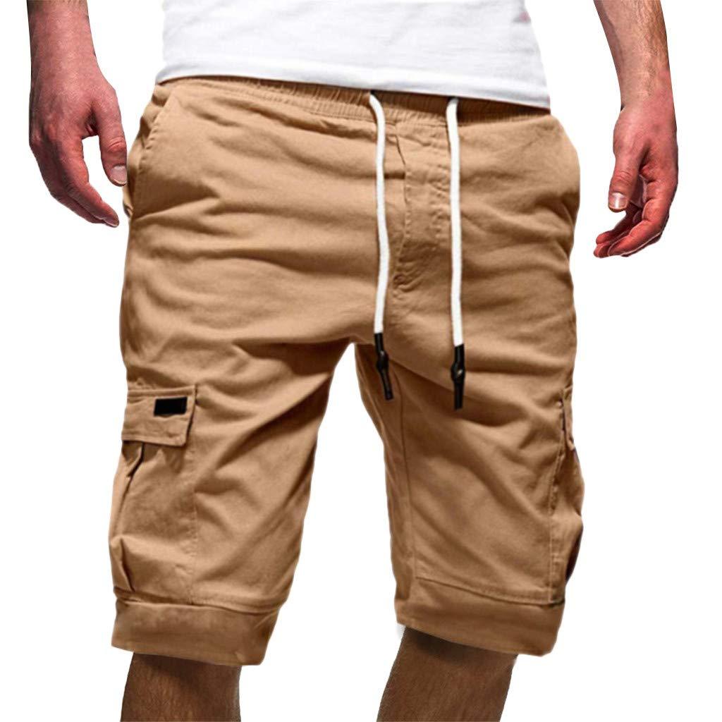 Ninasill Hot!Men's tethered Tooling Shorts Solid Color Elastic Waist with Pocket Sports Shorts Large Size Beach Shorts Khaki