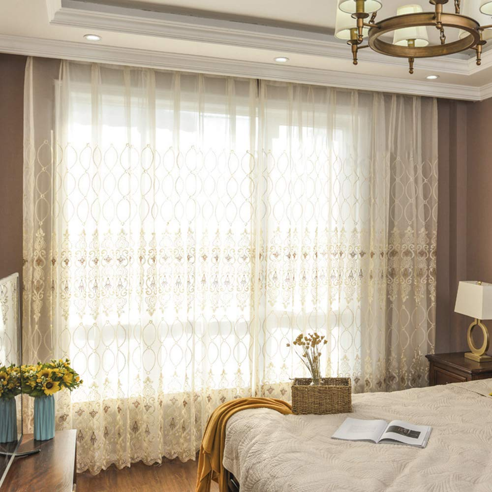 Home Décor Winyy Floral Embroidery Sheer Curtain For Dingin Room Kitchen Rod Pocket Top Window Voile Drape Geometric Leaf Curtain Tulle 1 Panel W39 X L63 Home Hyundai Lighting Com Mk