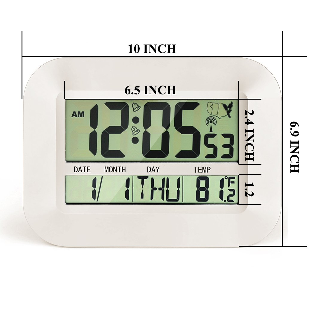 White CIGERA 11 Atomic Digital Clock with Dual Alarms,Time Zones,DST Time,Calendar and Indoor Temperature,Can be Wall Clock or Desk Clock