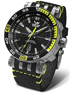 Vostok-Europe Energia 2 NH35A/575H283 Leather Gray Lime Green Watch Pilot Automatic 49mm