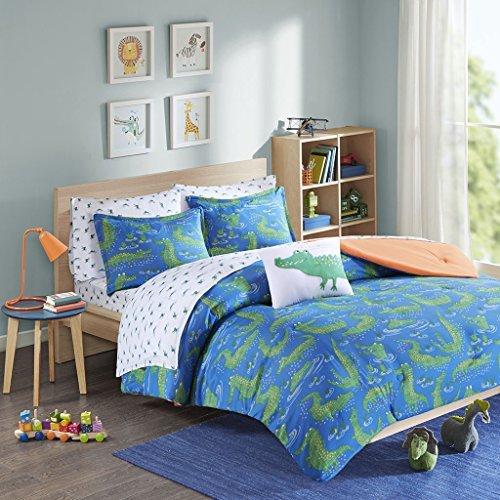 Mi Zone Kids The Full Bedding Blue Green, Animal Crocodile – 8 Pieces Boy Set – Ultra Soft Microfiber Children's Bedroom Comforters