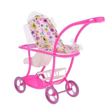 KESOTO Mini Carrito de Bebé de Plástico Push para Carretilla Muñecas Accs Niños Pretender Juego Juguete