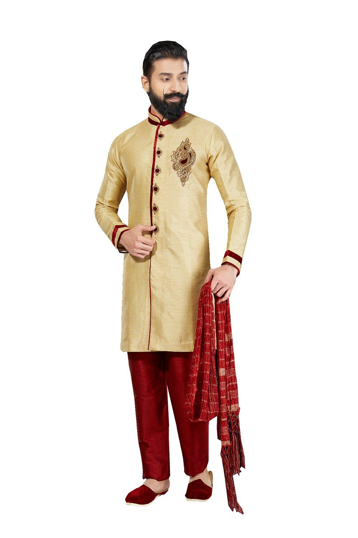 Sakalas Eye-catching Art Dupion Fabric Gold Color Readymade Kurta Payjama R-1