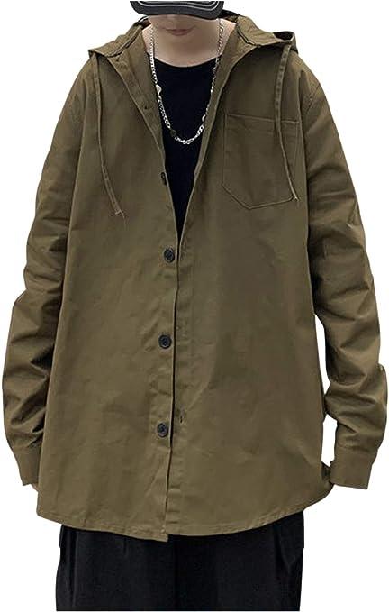 [ゴスファング] パーカー ジャケット フード アウター 長袖 薄手 無地 ラウンドカット シンプル カジュアル 春 秋 メンズ