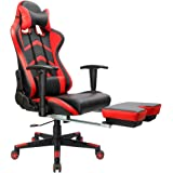 Furmax Gaming Chair High Back Racing Chair,Ergonomic Swivel Computer Chair Executive PU Leather Desk Chair With Footrest, Bucket Seat and Lumbar Support (Red)