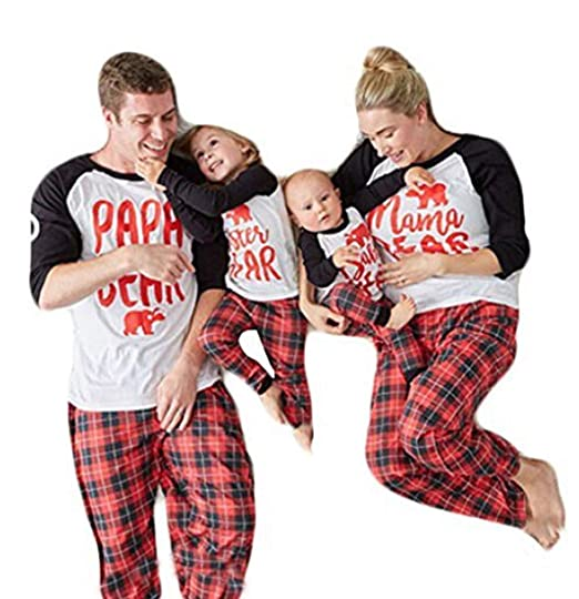 16a7ed20c USGreatgorgeous Papa Mama Sisters Baby Bear Family Matching Christmas  Pajamas Sets for The Family (L
