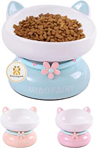 Sasapet Cat Bowl, Ceramic Tilted Elevated Cat Bowl Raised Food and Water Bowls Dish with Stand , Big Head Bowl High-Capacity,Dishwasher Microwave Safe, Lead Cadmium Free for Cats and small Dogs(green)
