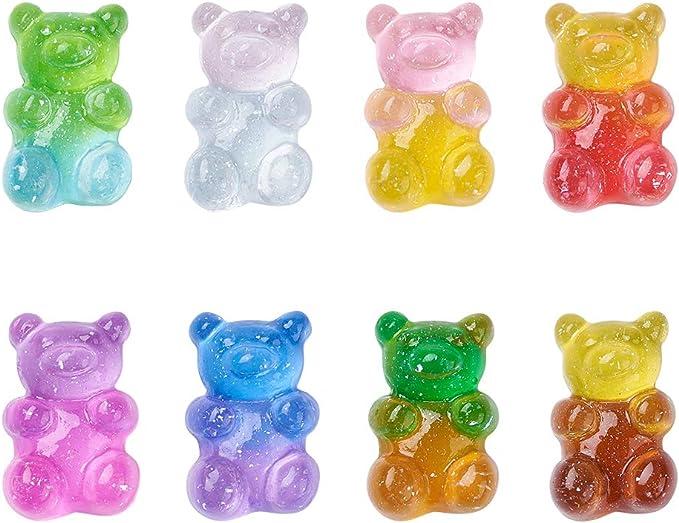 Glittery Pink Gummy Bear Resin Earrings