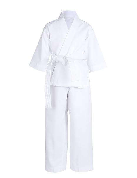 Freebily Conjunto Uniforme de Kárate Top + Pantalones + Cinturón Blanco Niño Niña Batas Deportivo de Boxeo: Amazon.es: Ropa y accesorios