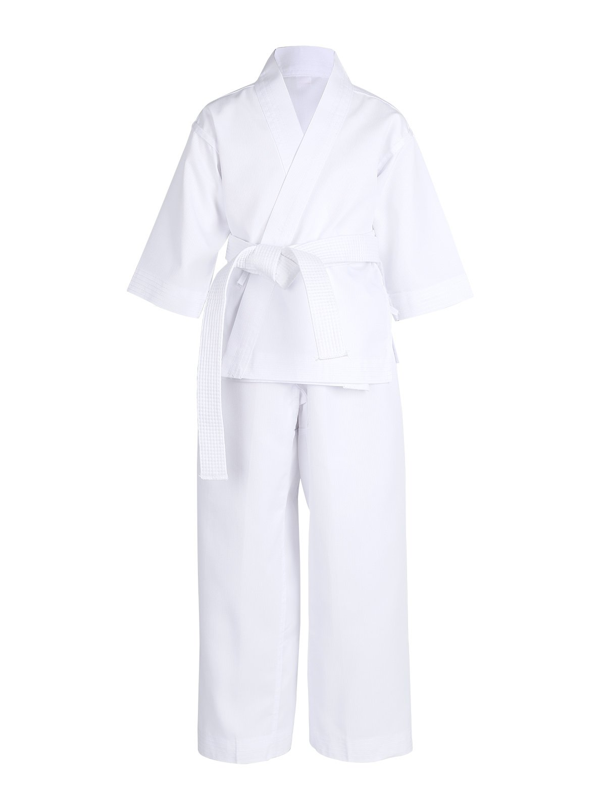 YiZYiF Kids Adults Martial Arts Middleweight Ultra Breathe Karate Gi Student Uniform Training Clothes with Elastic Pant Belt White 00/Kids 5-6