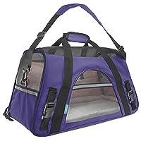 Ltuotu Portador del Perro Capazos Bolsa de Transporte para Mascotas Perros Gatos Animal Transportín Plegable, Aprobado por La Aerolínea de Viajes Portador del Bolso Lateral Suave (M(43*20*28cm), púrpura)