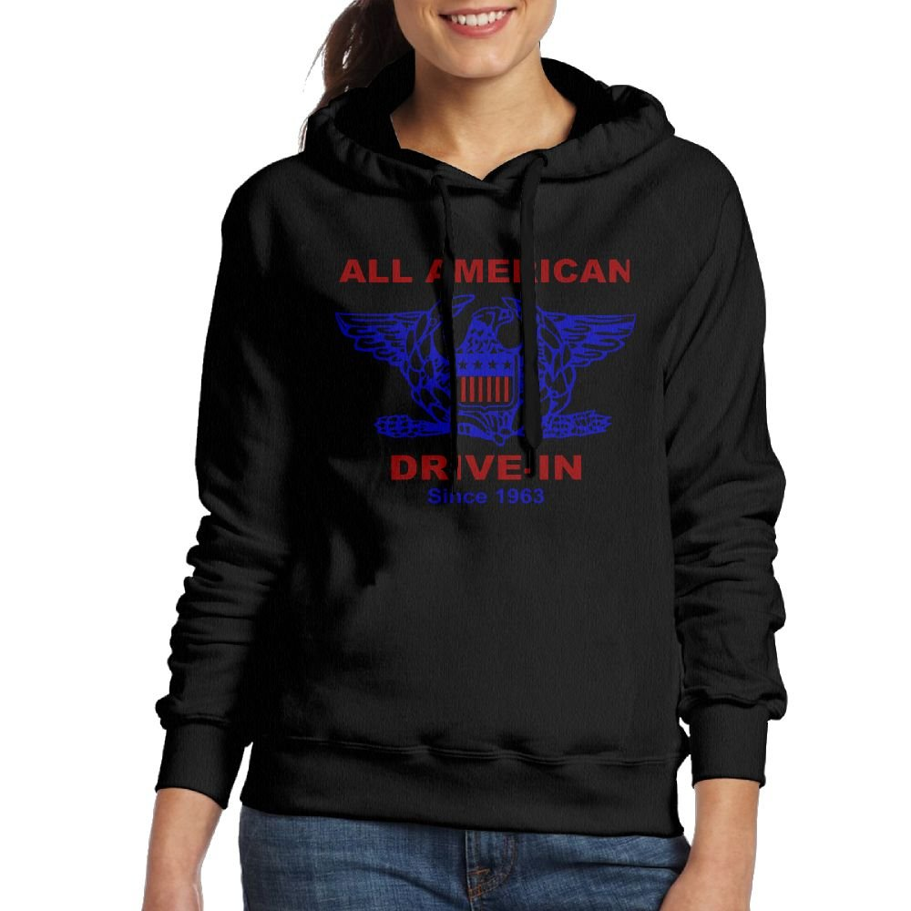 SmallTing WXF Womens All American Hamburger Drive In Funny Jogging Black Hoodies
