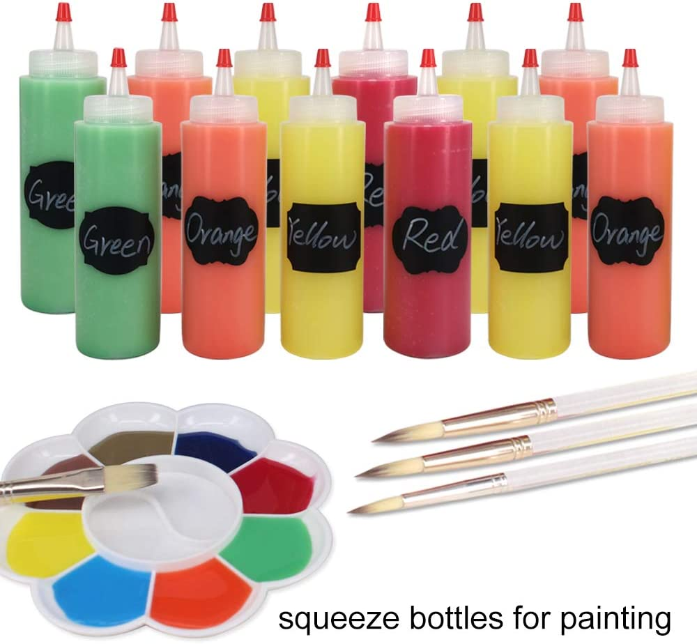 Belinlen 12 Pack 4-Ounce Plastic Squeeze Bottles with 12pcs Red Tip Caps and Measurement Good for Crafts Glue Multi Purpose Set of 12 with Extra 6 Red Cap 18 Chalk Labels and 1 Pen Art