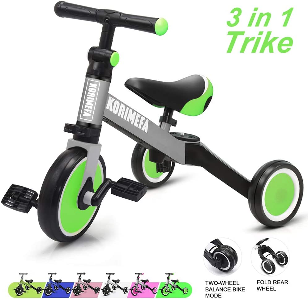 KORIMEFA 3 in 1 Kids Trike for Children 1-3 Years Old Kids Tricycle Boys Girls Baby Balance Bike 2 Wheels for Toddlers Tricycle with Removable Pedals