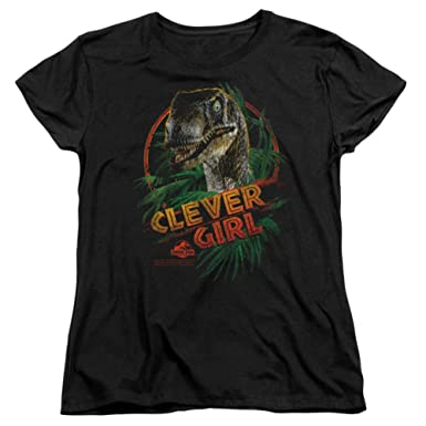 6f5326718 Jurassic Park - Womens Clever Girl T-Shirt In Black: Amazon.co.uk ...