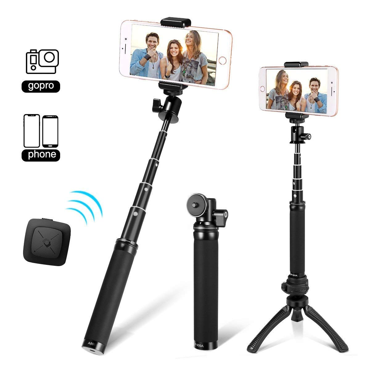 Fotopro 28'' Selfie Stick Tripod with Bluetooth Remote Cliker, Phone Tripod Mount, Removable Mini Tripod, for Android Smartphone iPhone X 7 Plus, Samsung Galaxy S9 Note 8, Huawei P20, Best Travel Gifts