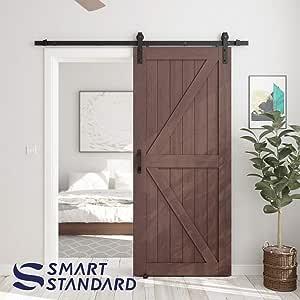 Puertas de granero y I forma [puerta individual y puerta doble] herrajes de puerta corredera, color negro: Amazon.es: Bricolaje y herramientas