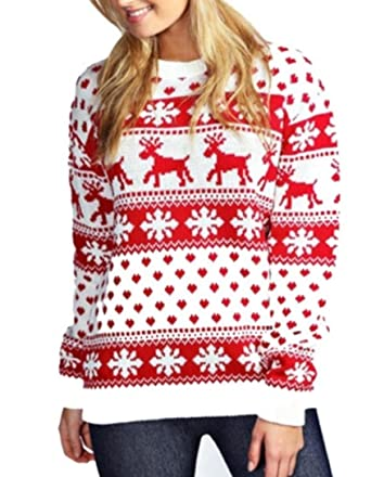 2993b4b7d83e8 Janisramone Femmes Dames Nouveau Unisexe Noël Renne Flocon De Neige  Nouveauté Tricoté Unisexe Xmas Pull Chandail Haut  Amazon.fr  Vêtements et  accessoires