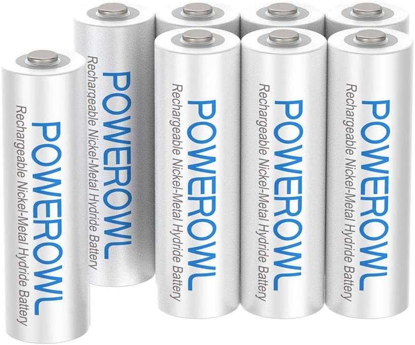 AAA Rechargeable Batteries, POWEROWL Rechargeable AAA Batteries 1000mAh High Capacity 1.2V NiMH Low Self Discharge Rechargeable AAA Battery, 8 Pack