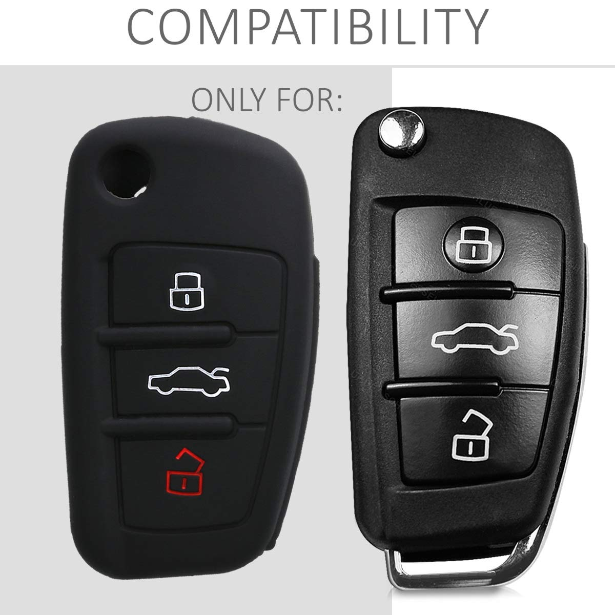 Silicone Protective Key Fob Cover for Audi 3 Button Flip Key kwmobile Car Key Cover for Audi White//Black