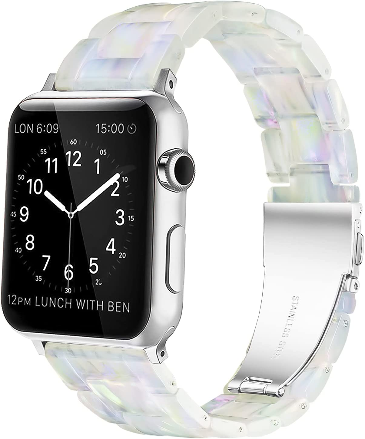 YGTIECS Resin Apple Watch Band Compatible with Apple Watch Band 38mm Women, Combine with Stainless Steel Connector for Apple Watch Band 40mm Series SE 6 5 4 3 2 1 for Women and Men- Phantom Pearl
