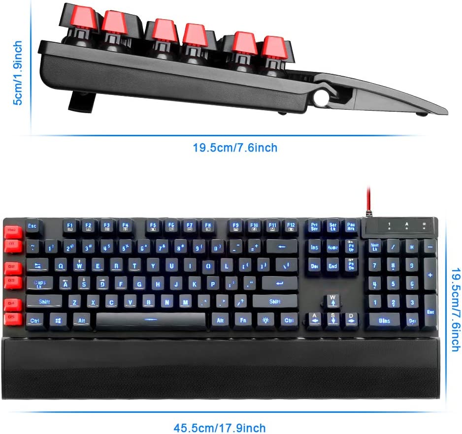 BHGFCGYUH USB Gaming Membrane Keyboard Ergonomic 7 Color LED Backlit Keys Full Key Anti-ghosting 104 Wired Computer Gamer PC