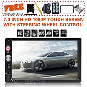 Upgraded 7 Inch Double Din Touch Screen Car Stereo Headunit with Free Rear Camera and Steering Wheel Control and Car Tuning Tools and Remote Control Support Mirror Link Audio Receiver (Black)