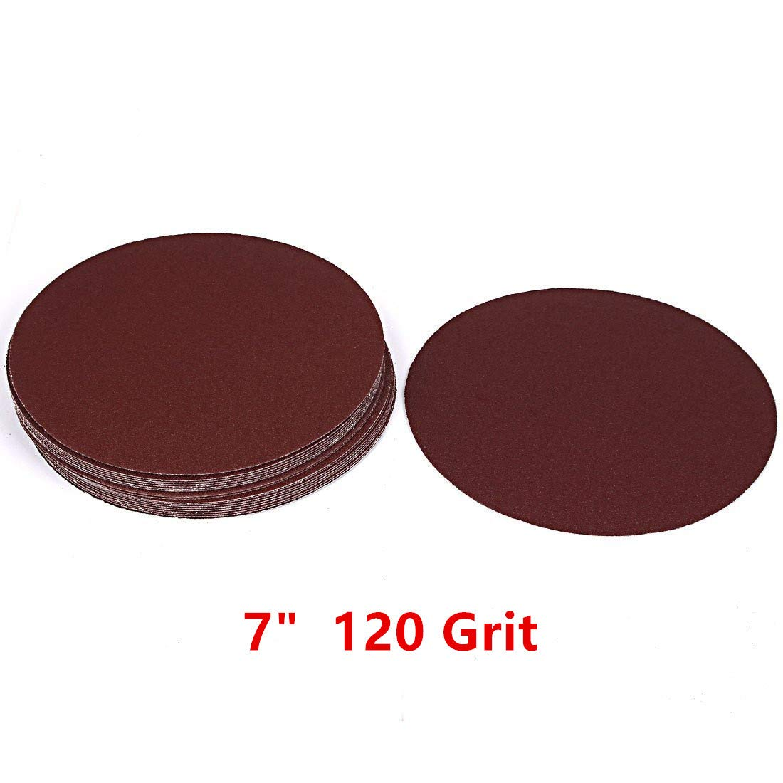 Adiyer [20 Pack] 7-inch 120 Grit Hook and Loop Sanding Discs Sandpaper, Aluminum Oxide Abrasive