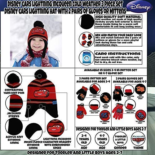 ac123f5239c Disney Cars Hat and 2 Pair Mittens or Gloves Cold Weather Set ...