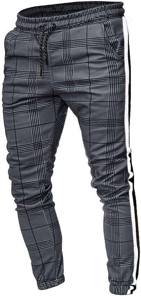 LILICHIC Pantalon Carreaux Imprim/é Coton avec Cordon de Serrage Homme Pantalon Droit Taille Haute /élastique Pantalon Jogging Sport Automne Hiver Sweatpant Harem Pantalon Sarouel Grande Taille M-5XL
