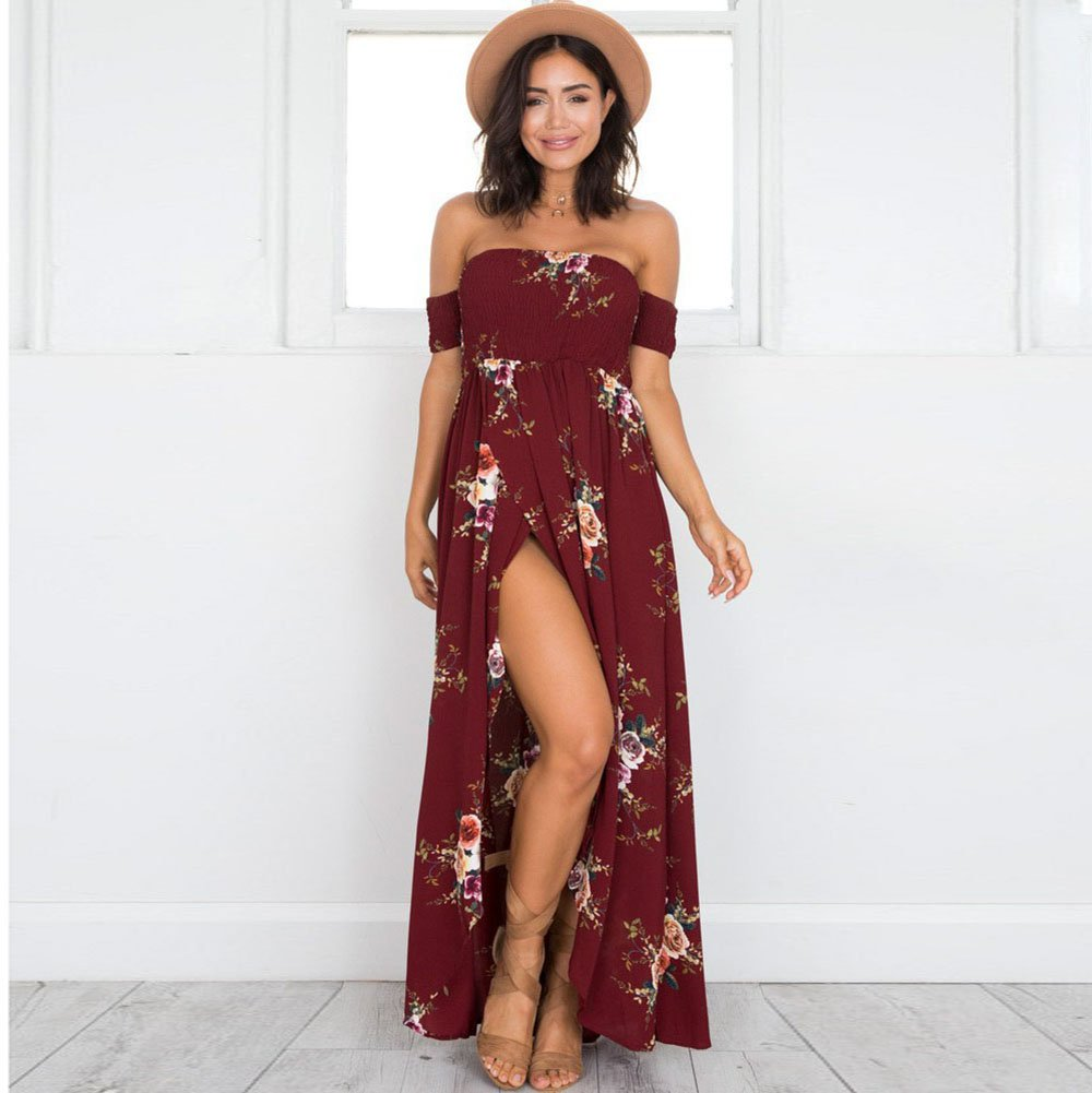a8a1529aad50 Amazon.com: Boho Style Long Dress Women Off Shoulder Beach Summer Dresses  Floral Print Vintage Chiffon White Maxi Dress Vestidos de Festa Red 3XL:  Kitchen & ...